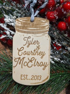 Wood Mason Jar Ornament
