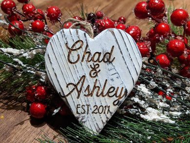Whitewashed Wood Heart Ornament