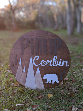 Mountain Scene Circular Nursery Sign