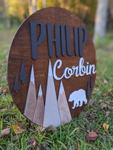 Load image into Gallery viewer, Mountain Scene Circular Nursery Sign