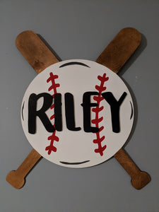 Baseball Name Sign