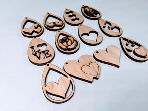 Valentine Earring Blanks (Hardware Included but not assembled)