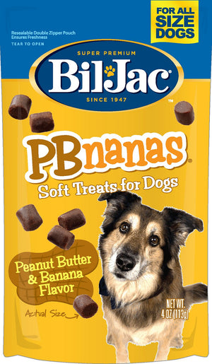 Bil-Jac PBnanas Peanut Butter & Banana Flavor Dog Treats 4-oz