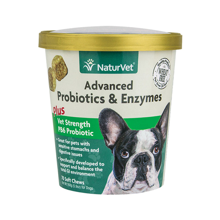 NaturVet Advanced Probiotics & Enzymes Soft Chew 70-count