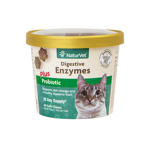 NaturVet Digestive Enzymes Cat Soft Chews 60-count