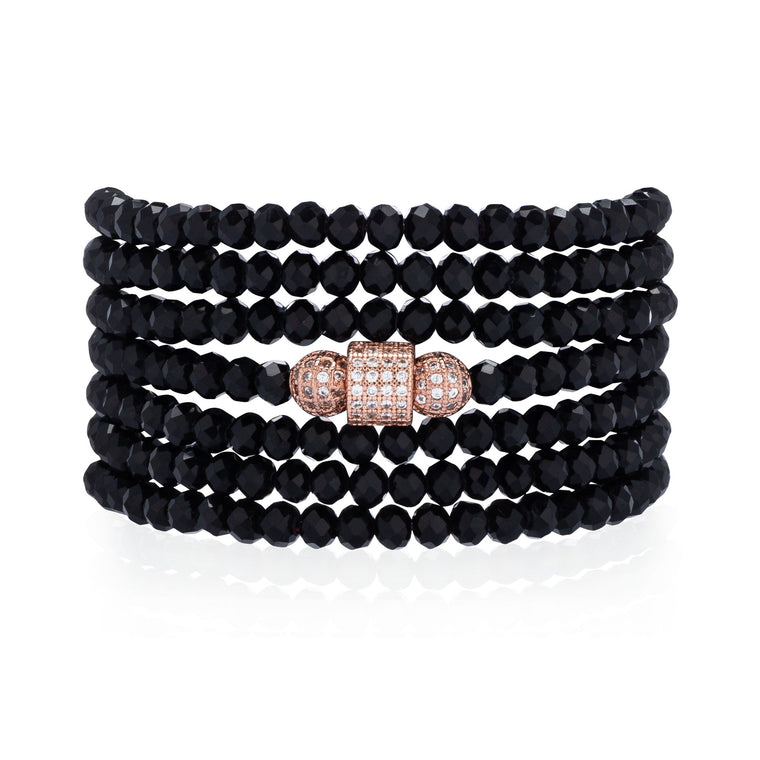 Black Crystal Seven Wrap Rose Cubic Zirconia Bracelet & Necklace
