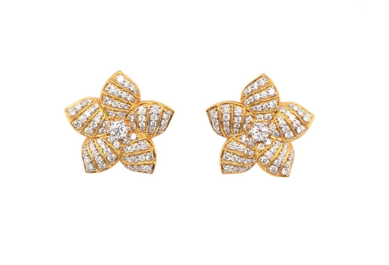 Yellow Gold and Diamond Floral Stud Earrings