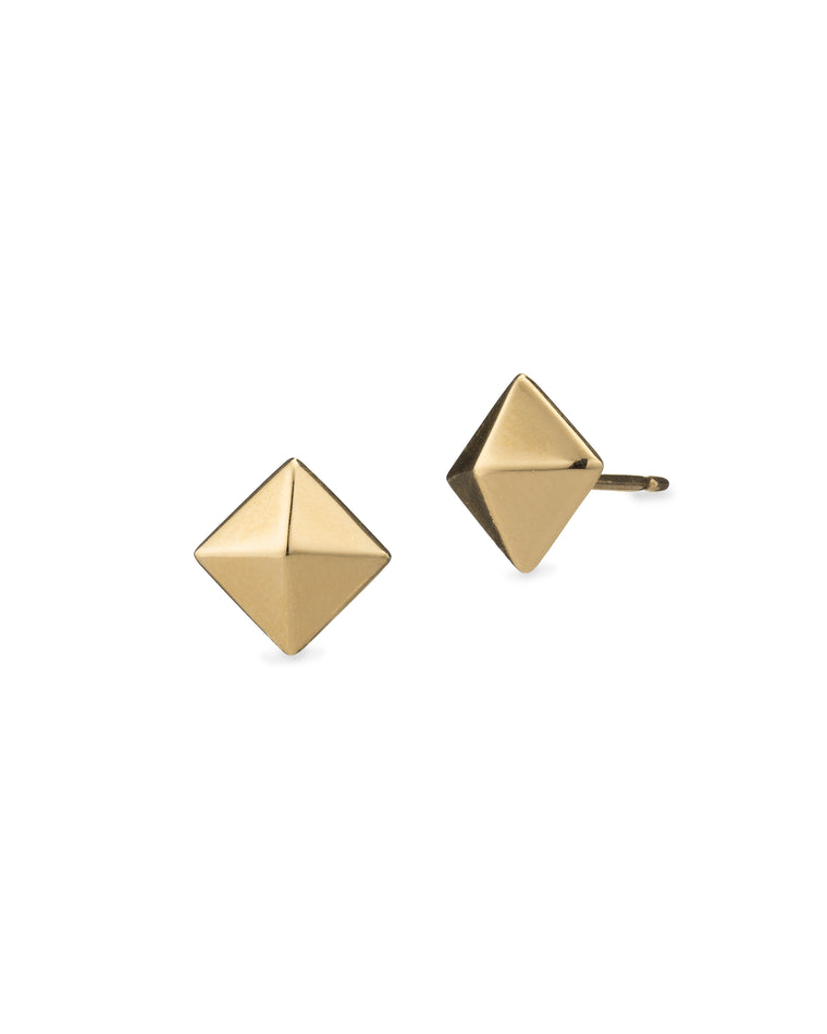 Yellow Gold Small Pyramid Stud Earrings