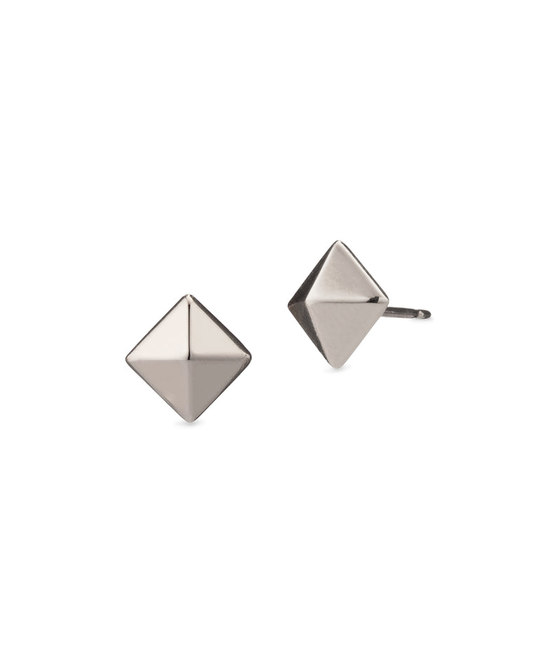 White Gold Small Pyramid Stud Earrings