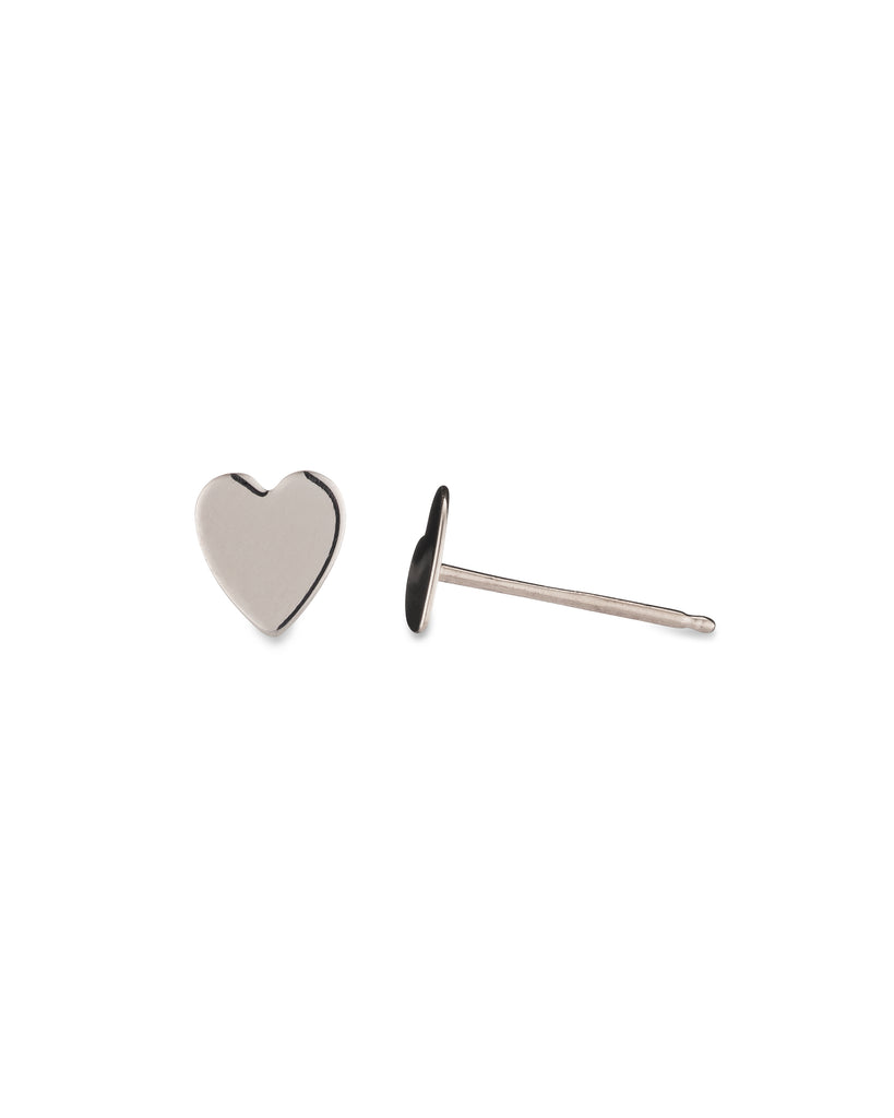 White Gold Flat Heart Stud Earring