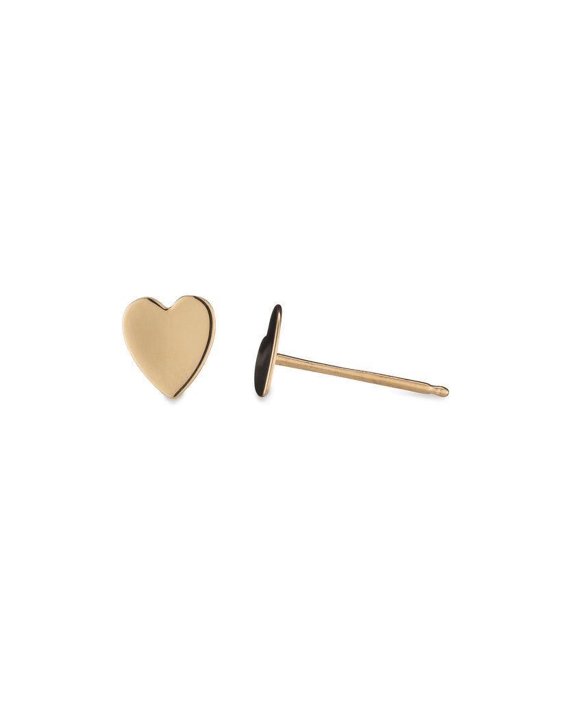 Yellow Gold Flat Heart Stud Earring