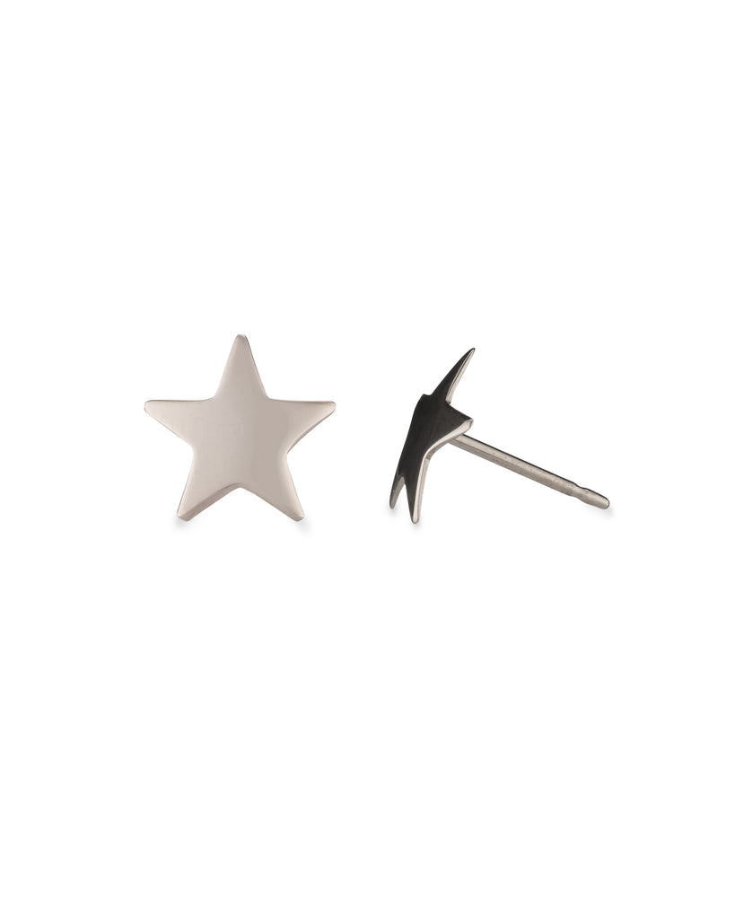 White Gold Star Stud Earring