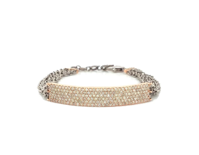 Rose Gold and Black Rhodium Diamond ID Bracelet