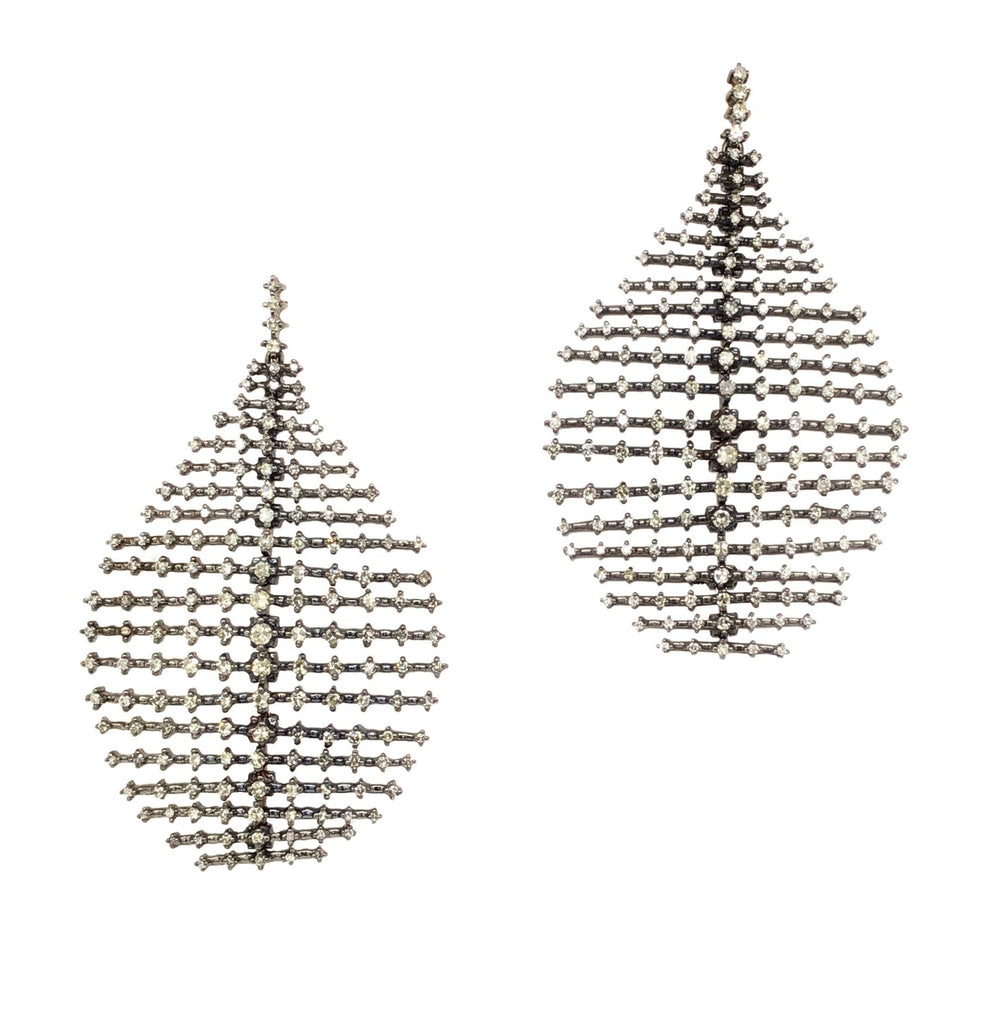 Black Rhodium and Diamond Ripple Earrings