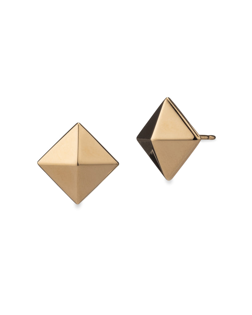 Yellow Gold Pyramid Large Stud Earrings