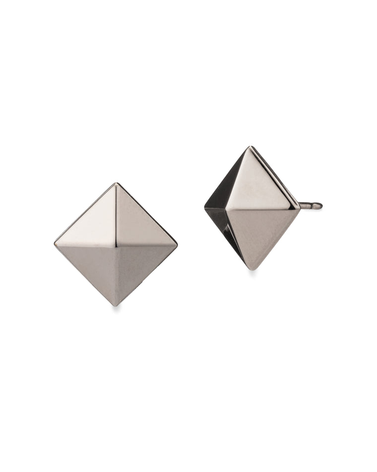 White Gold Pyramid Large Stud Earrings