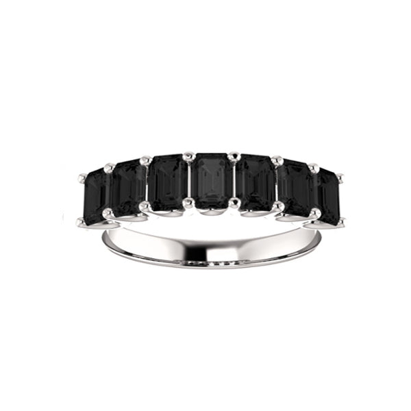 Black Onyx Medium Cut White Gold Ring