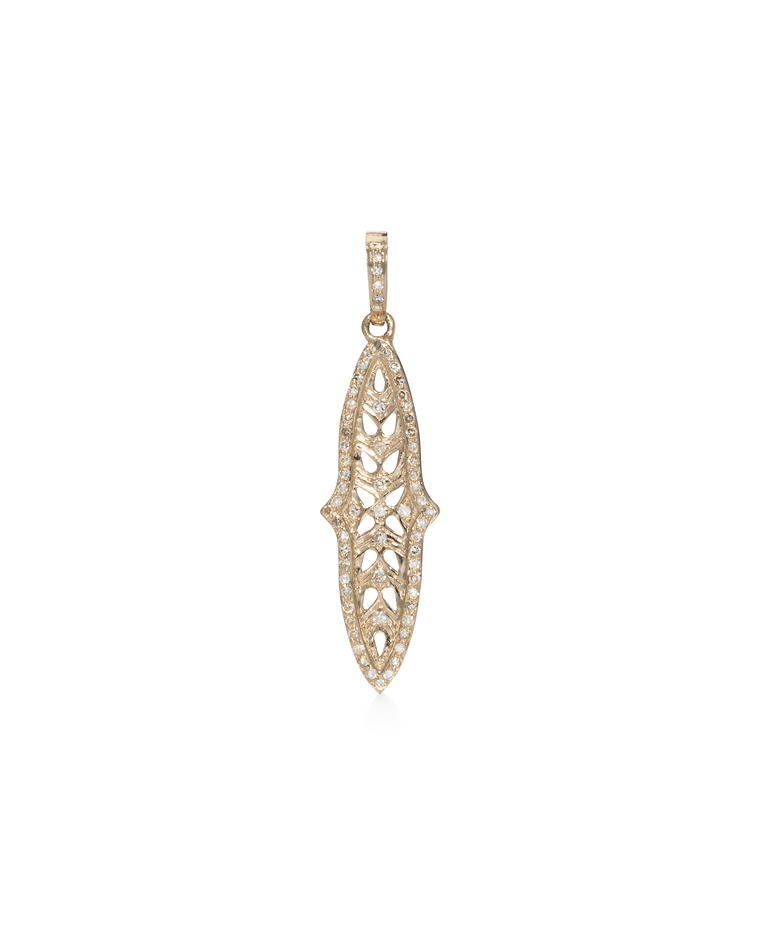 Yellow Gold Diamond Filigree Dagger Charm