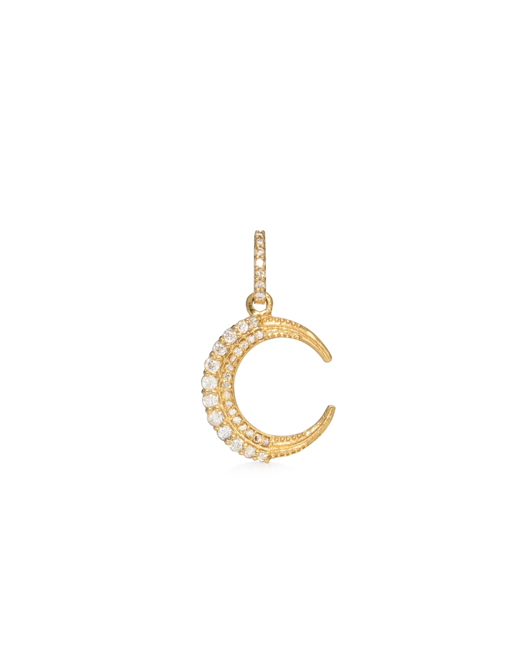 Yellow Gold Diamond Moon Charm