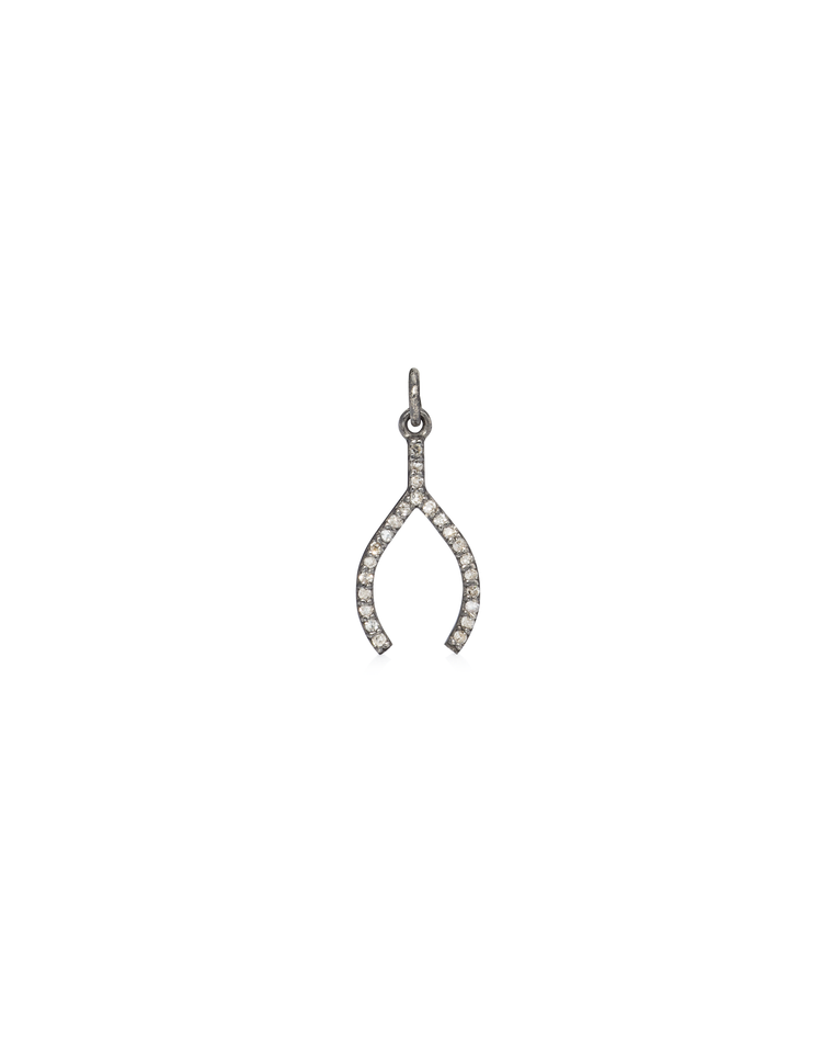 BLACK RHODIUM & DIAMOND PAVE WISHBONE CHARM