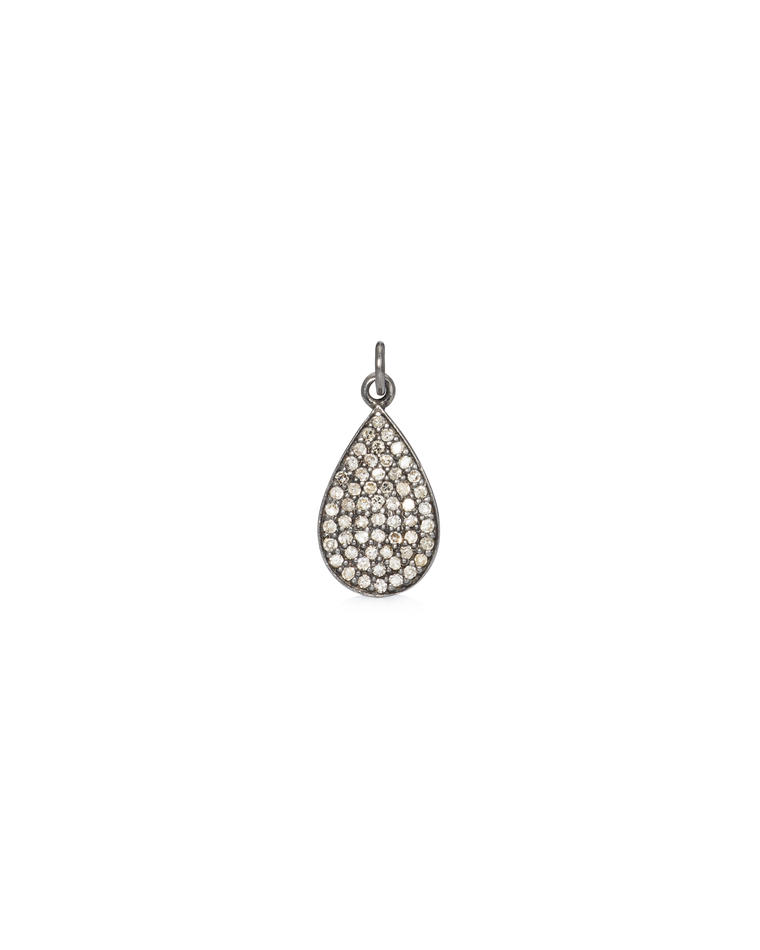 Black Rhodium & Diamond Tear Drop Charm