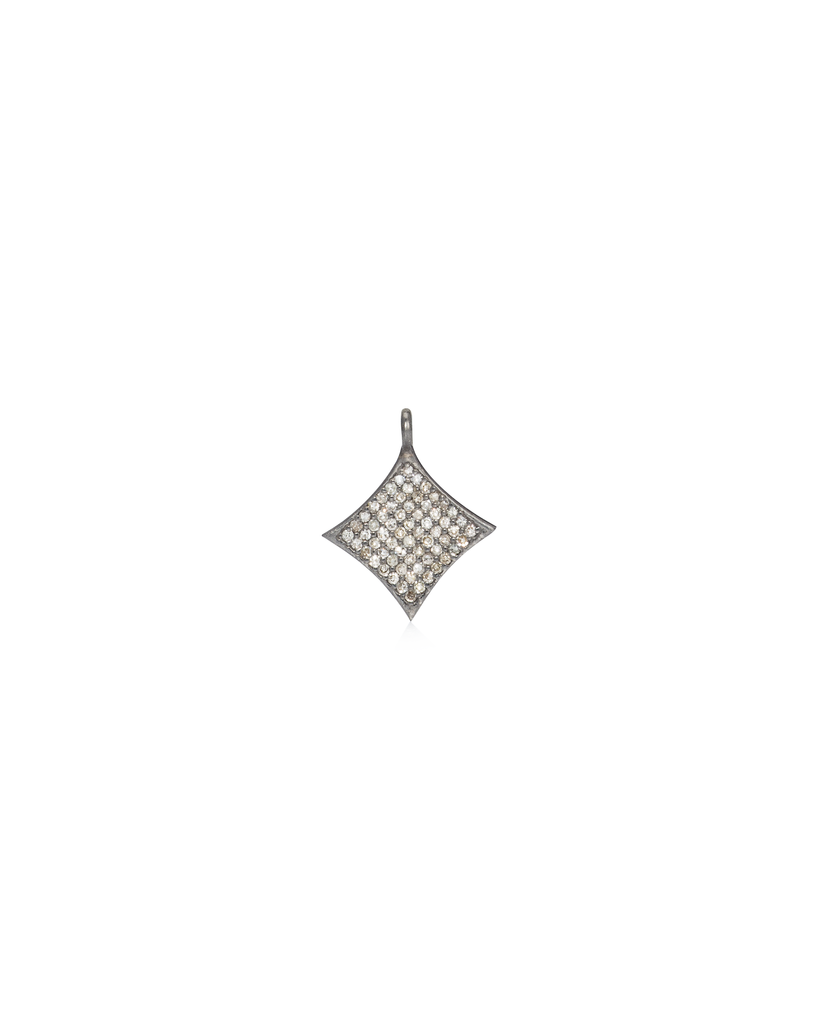 Black Rhodium Diamond Diamond Shape Charm