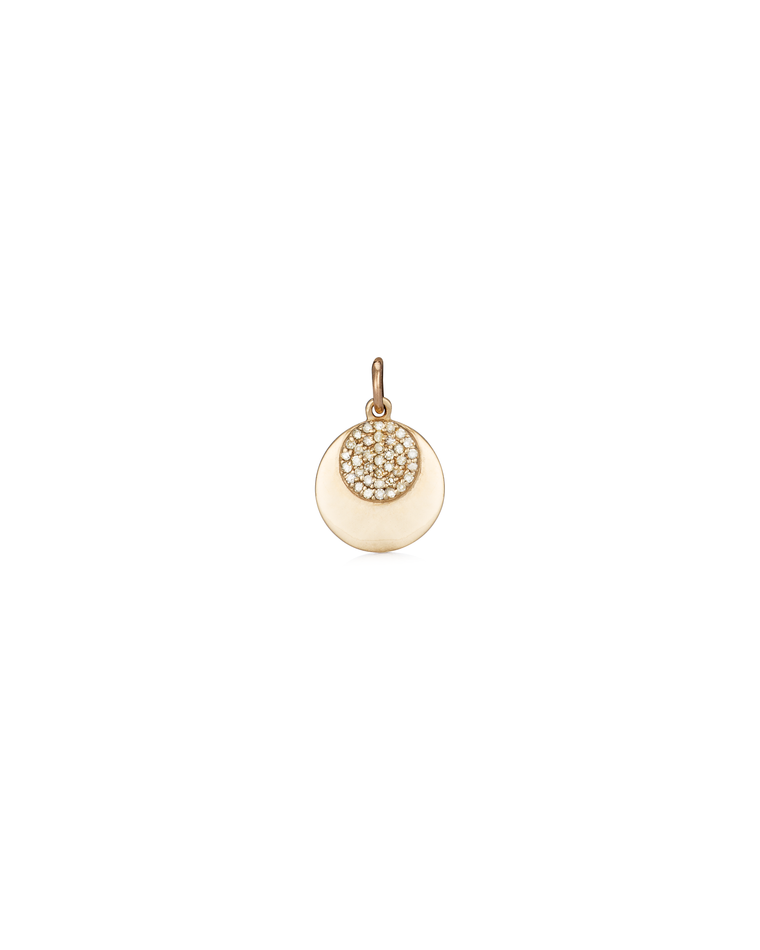 YELLOW GOLD AND DIAMOND HIGH POLISHED DISK CHARM