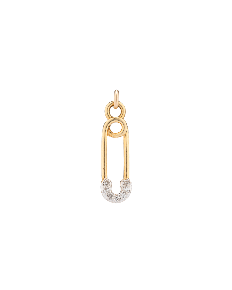 YELLOW GOLD DIAMOND SAFETY PIN CHARM