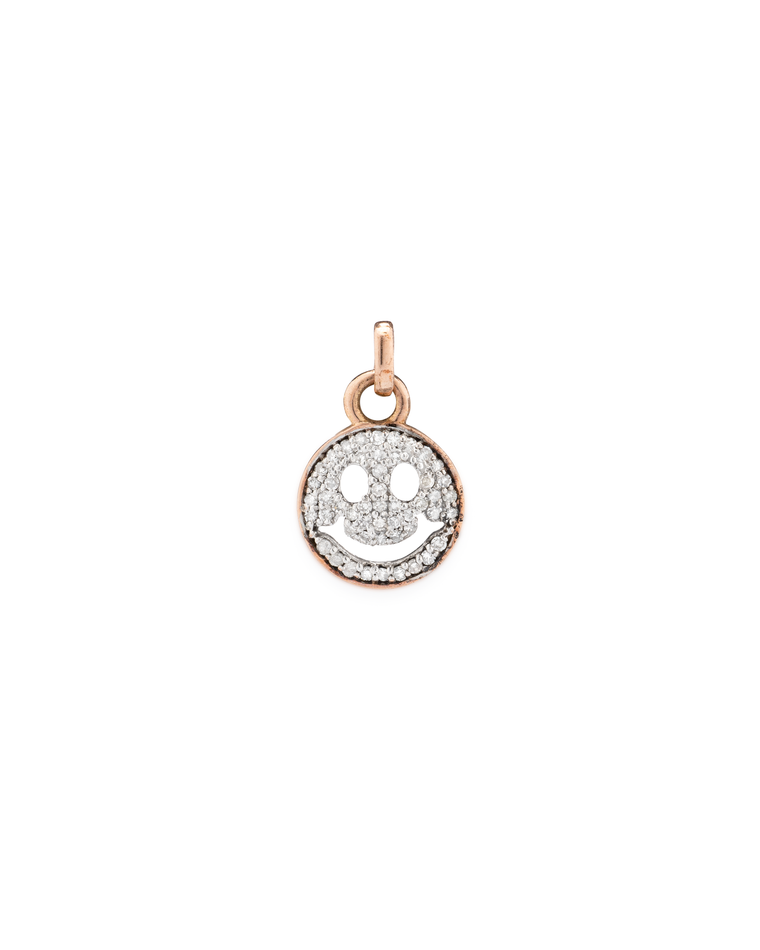ROSE AND WHITE DIAMOND SMILEY FACE CHARM