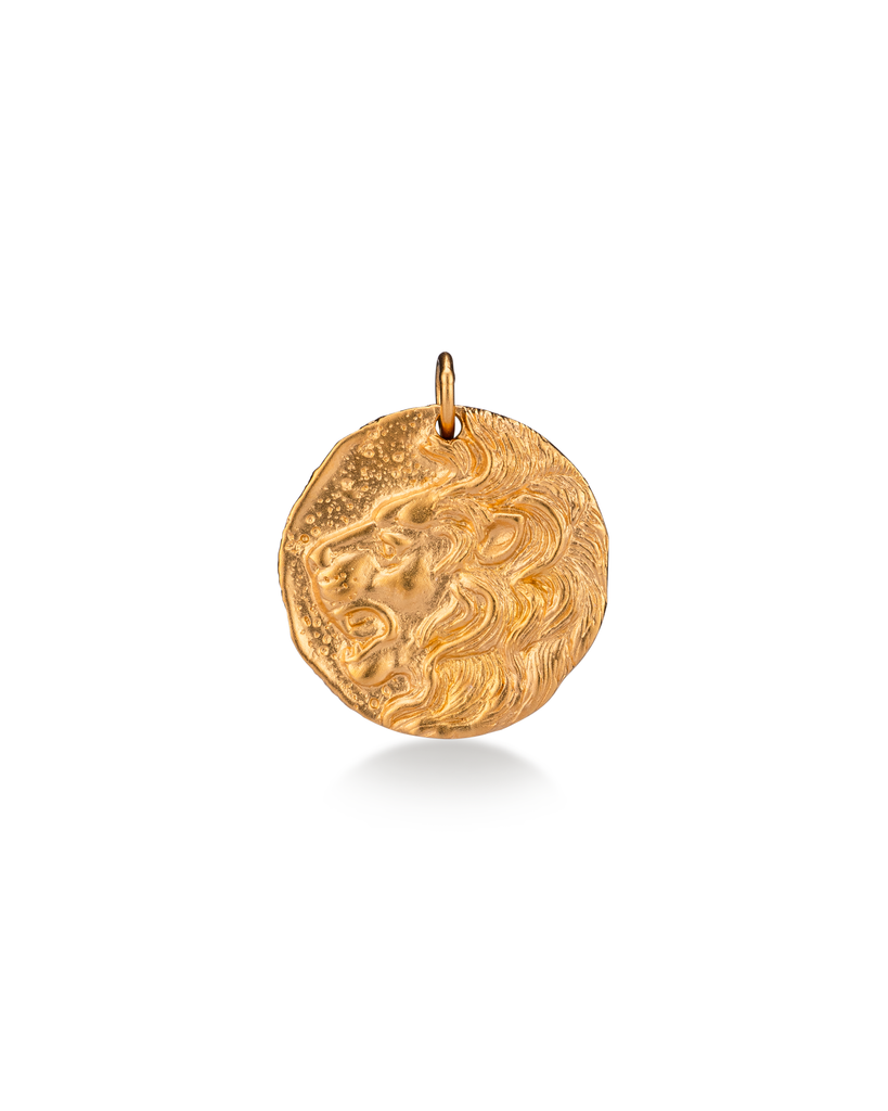 Lion Coin 24k Yellow Gold Over Sterling Silver Charm