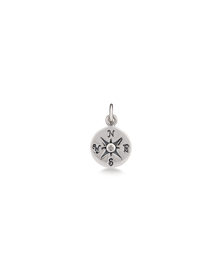 Diamond Compass Sterling Silver Charm