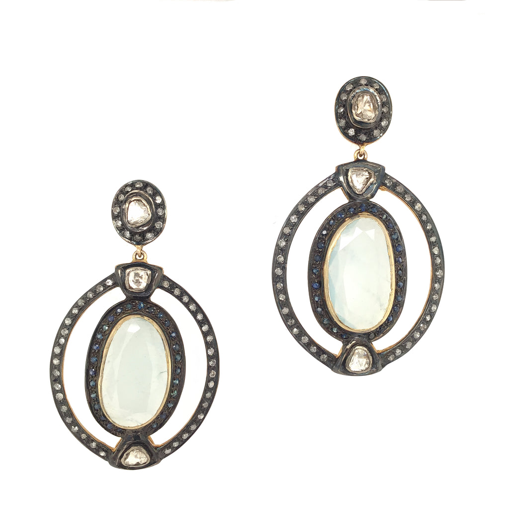 Black Rhodium & Diamond Oval Aquamarine Drop Earrings
