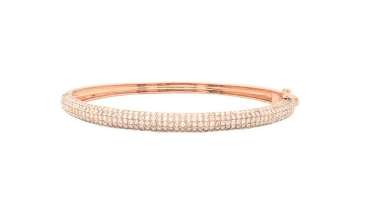 Rose Gold and Diamond Curved Cuff Bracelet