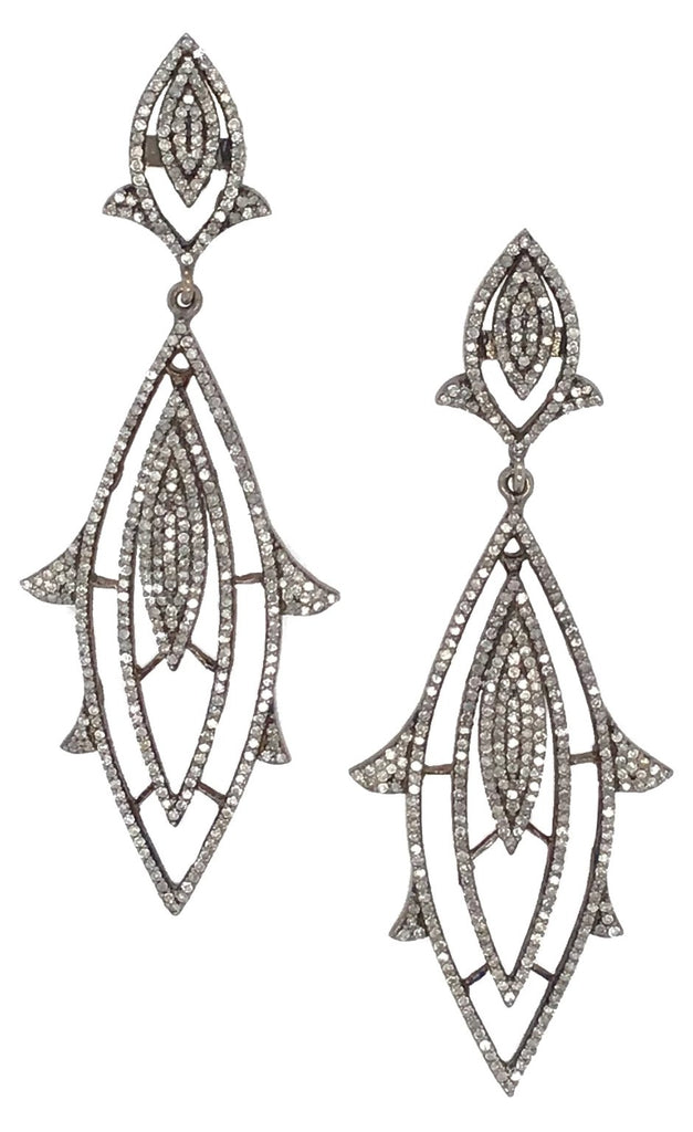 Black Rhodium and Pave Diamond Chandelier Earrings
