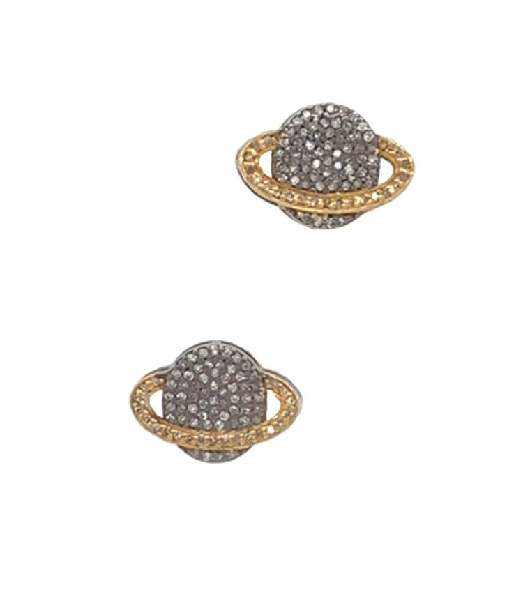 Black Rhodium and Yellow Gold Two Toned Diamond Saturn Stud Earrings
