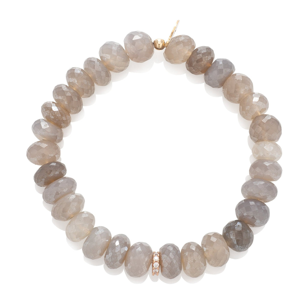 Sheer Brown Moonstone and Cubic Zirconia Disk Beaded Bracelet