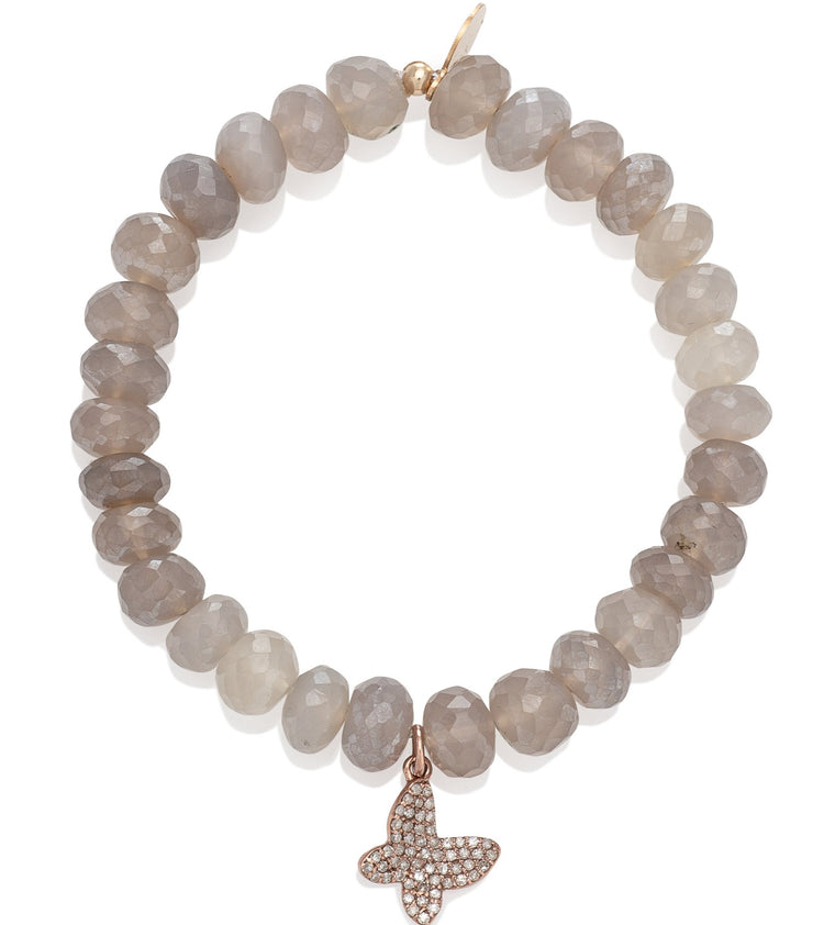 Sheer Brown Moonstone and Rose Gold Diamond Butterfly Beaded Bracelet