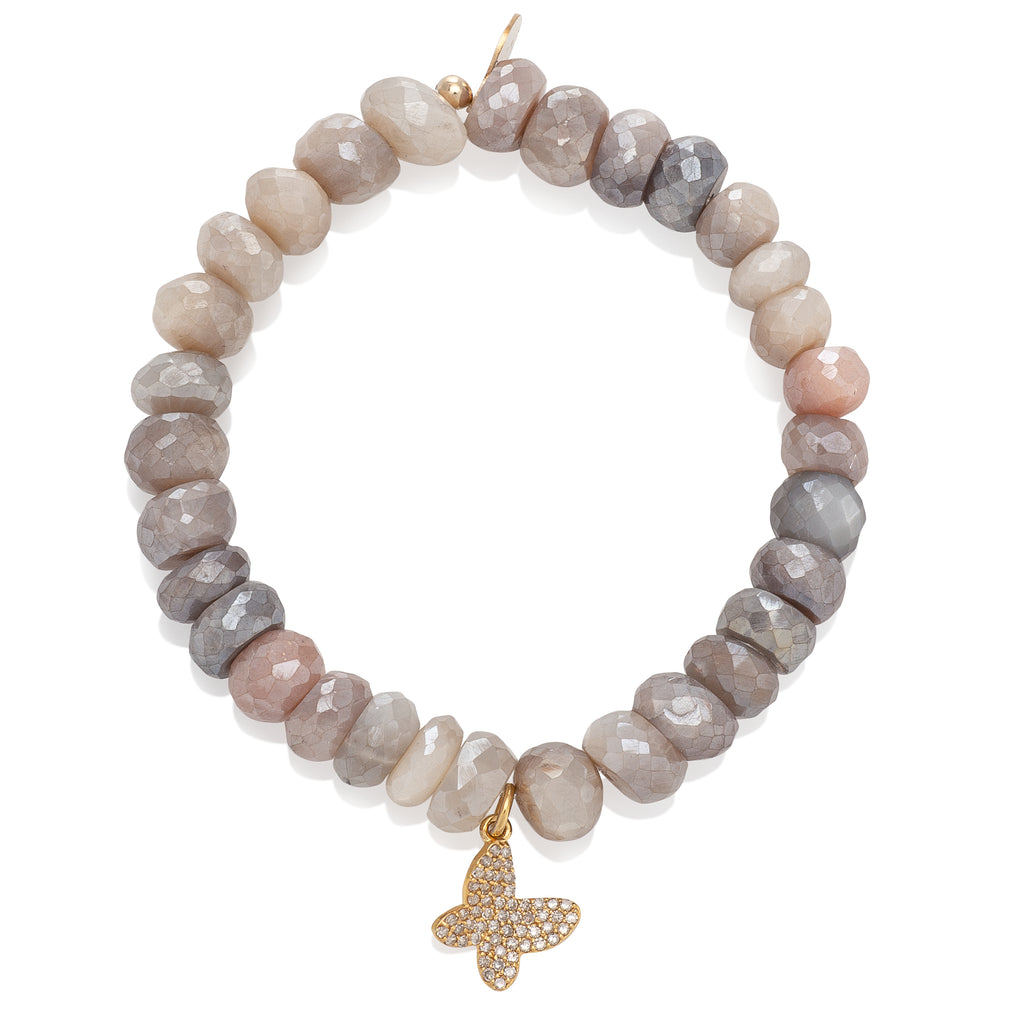 Moonstone and Yellow Gold Diamond Butterfly Beaded Bracelet