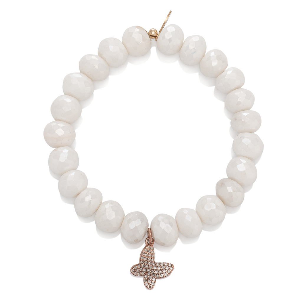 Silverite and Diamond Butterfly Charm Beaded Bracelet