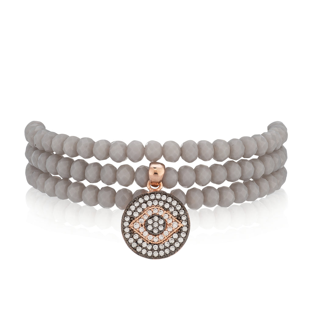 Gray Crystal & Rose Evil Eye Triple Wrap Bracelet