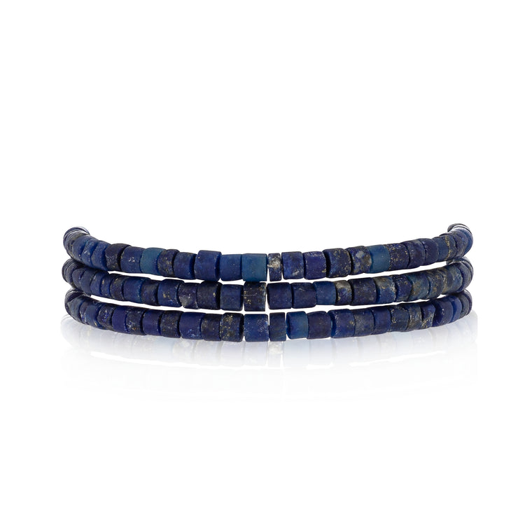 Lapis Triple Stack Beaded Bracelet