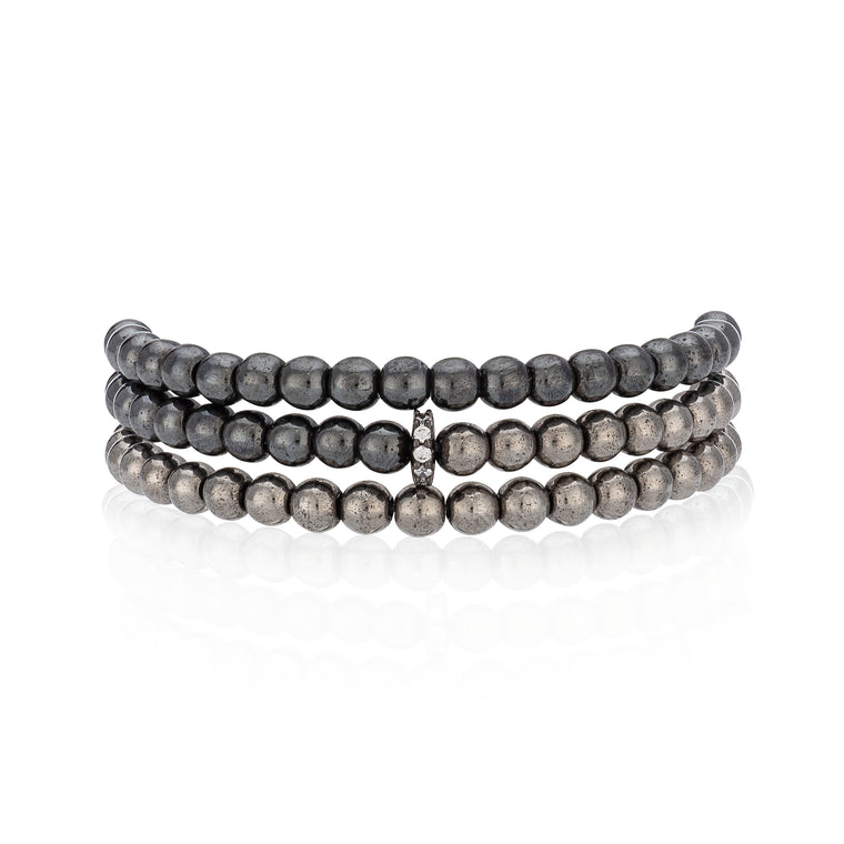 Two Toned Hematite Triple Wrap Bracelet