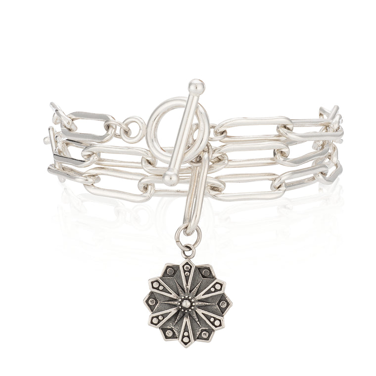 Sterling Silver Courage Triple Wrap Bracelet