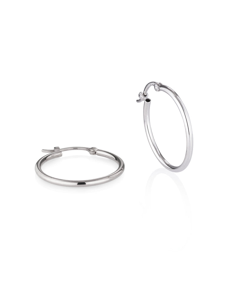 White Gold Medium Classic Hoop