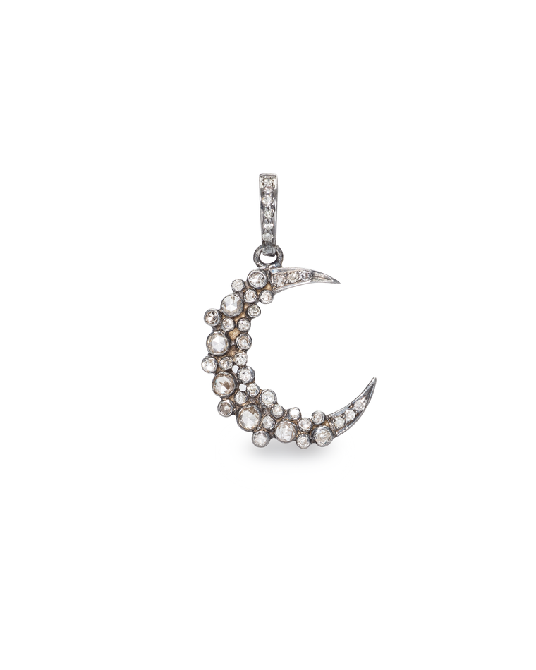 Black Rhodium Diamond Moon Charm