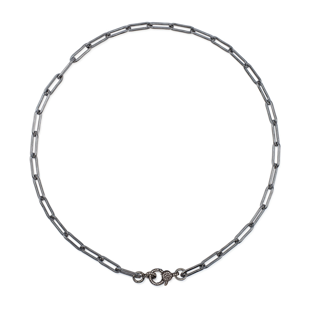 Black Rhodium Silver Chain and Diamond Lobster Clasp Pick Your Length Necklace
