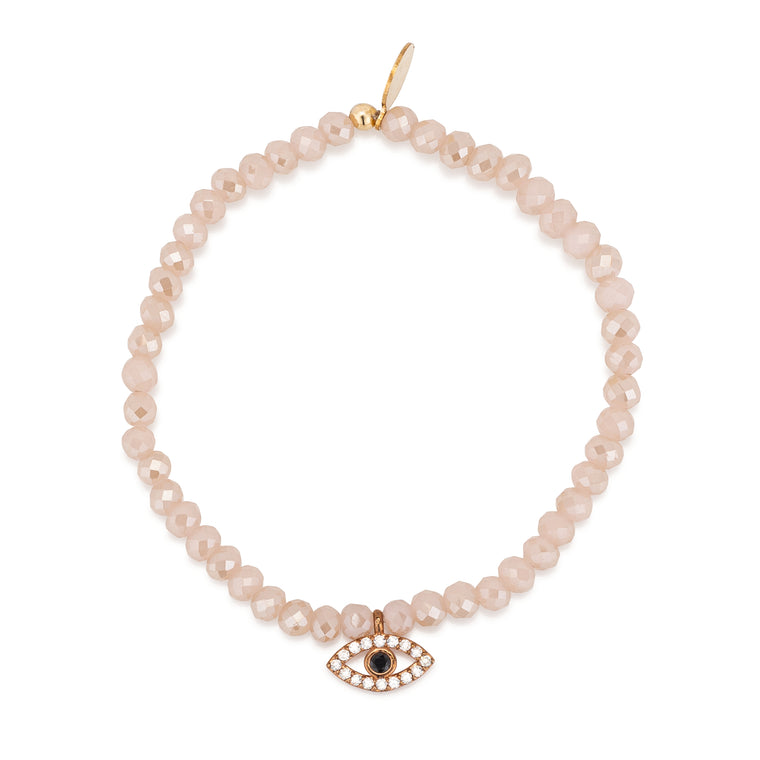 Pink Rosé Crystal & Rose Evil Eye CZ Beaded Bracelet
