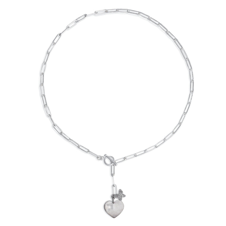Sterling Silver Heart Coin and Butterfly Chain Pendant Short Necklace