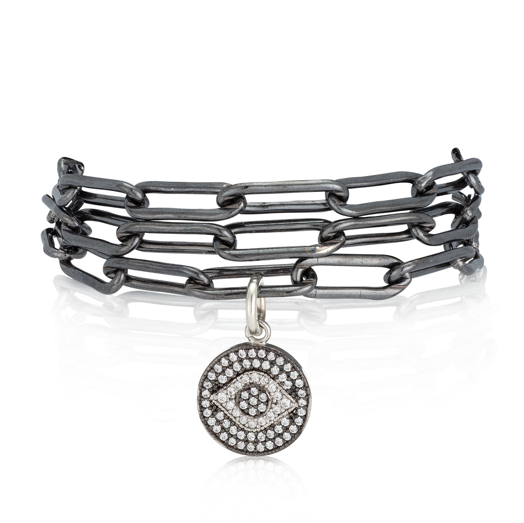 Black Rhodium & Silver Evil Eye Pick Your Length Bracelet