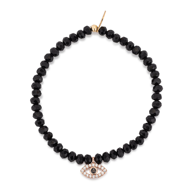 Black Crystal & Rose CZ Evil Eye Charm Beaded Bracelet